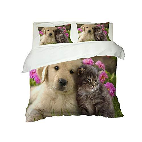 Kekeyt Duvet Cover Sets Cute Animal Puppy Kitten Coverless Duvet Cream Kingsize Duvet Cover Sets 3D Hd Printing 200 X 200 Cm-Cotton adult children's bedding