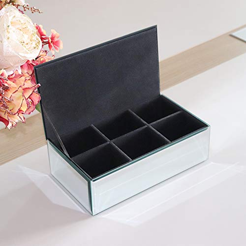 Qmdecor Rectangle Tea Box with 6 Divider Jewelry Accessories Storage Collection Organizer Simple Design Mirrored Tea Bag Box Jewelry Holder Material in Silver Mirror Glass