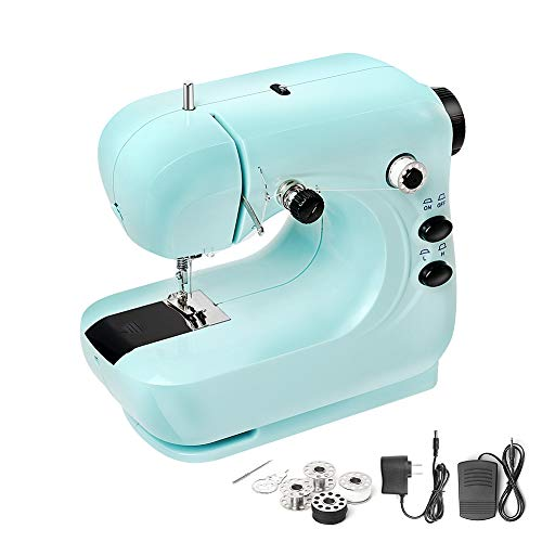 Mini Sewing Machine, Portable Household and Lightweight Electric Sewing Machine for Beginner, Sewing Made Easy with Double Thread and Free Arm, Adjustable 2-Speed with Foot Pedal for Kids (Blue)