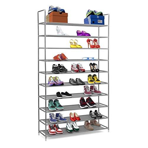 Halter 10 Tier Free Standing Shoe Rack, Shoe Rack for Entryway, Bedroom Closet Storage Organizer, Stackable Shoe Storage Rack, Space Saving Shoe Shelf, Gray