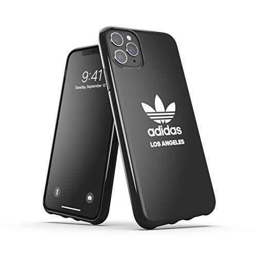 adidas Custodia progettata per iPhone 11 Pro Max, custodia testata a caduta, bordi rialzati, custodia originale Los Angeles Snap Case con logo bianco e nero