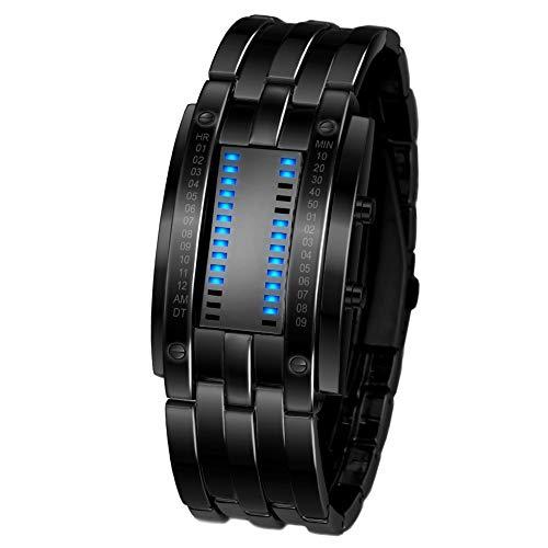 Relojes Digitales Hombre,Relojes LED para Hombre Relojes binarios LED Digitales a Prueba de Agua Relojes Militares de Acero Inoxidable (Large Black)