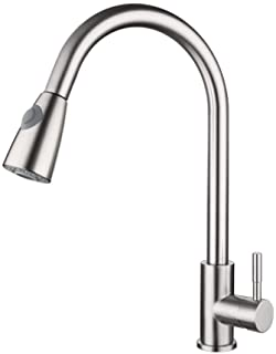 Goolsky Pull Out Kitchen Faucets with Sprayer Bathroom Basin Sink Faucets 2 Spraying Modes 360° Rotating Stainless Steel Water Tap