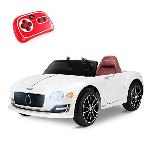 Playkin BENTLEY BLANCO - Coche electrico niños bateria 12V con mando ruedas goma y luces +3 años juguetes infantiles coches de bateria , color/modelo surtido