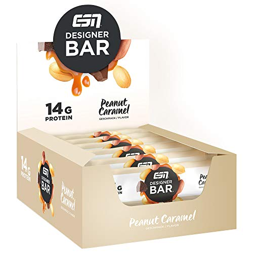 ESN Designer Bar Box – 12 x 45g – Peanut Caramel – Protein Riegel ohne Zuckerzusatz – High Protein – Lower Carb – Ohne Palmöl – Made in Germany