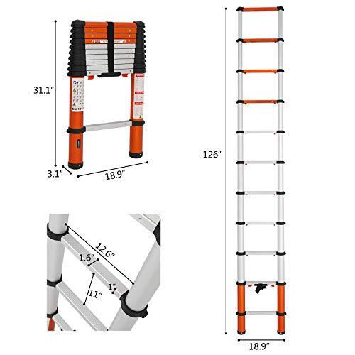 Luisladders 10.5ft Telescoping Ladder Aluminum Telescopic Extension EN131 330 Pound Capacity Tall Multi Purpose …