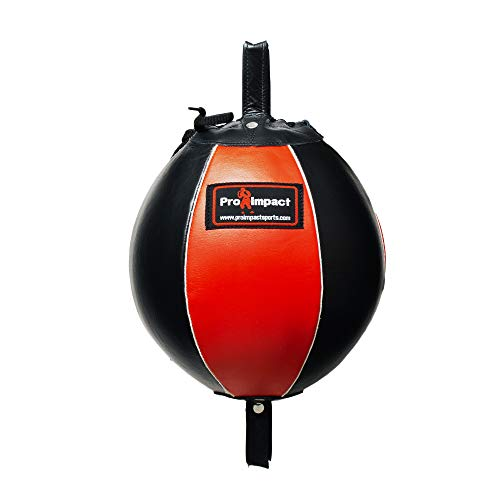 Pro Impact Genuine Leather Double End Boxing Punching Bag - Speed Striking & Dodge Training Ball - Includes Cords & Hooks for Gym Workout MMA Muay Thai (7 Inch)