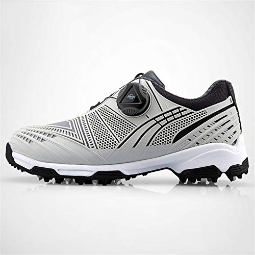 FJJLOVE Junge Golfschuhe, Kinder Leder Wasserdicht Golf Schuh-Breathable Lace Up-Walking-Schuhe Anti-Skid Gelegenheits-Trainer-Schuhe,Grau,36