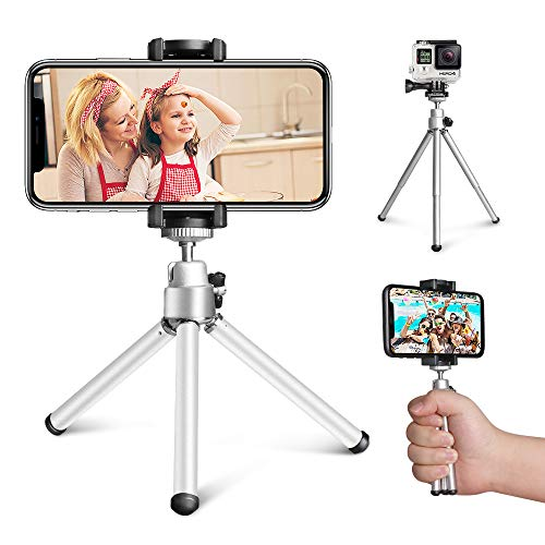 Mini Tripod, Aureday Portable Desktop Cell Phone Tripod Stand with Phone Holder Mount, 5.12-inch Extendable Handheld Tabletop Lightweight Tripod, Compatible with Cellphone/Webcam/Small Camera