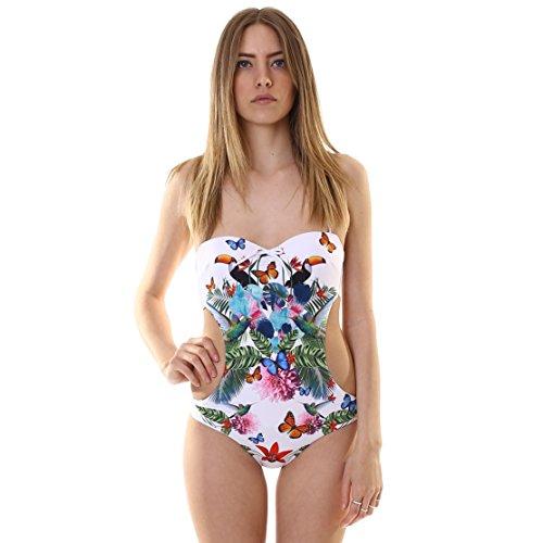 Emporio Armani Damen Badeanzug Tropical Einteiler EA7 - Weiß - X-Large