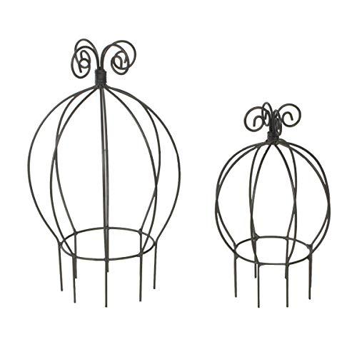 Varia Living 2er Set groß und klein runde Rankhilfe in schwarz aus Metall Pflanzen   Mini Kletterhilfe aus Draht für den Blumen Topf als Rankturm   ideal kleine Rosen