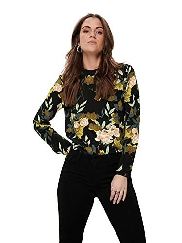 ONLY Damen Onlnew Mallory Aop L/S Blouse Wvn Noos Bluse, Mehrfarbig (Black Aop: Faye Flower), 40 EU