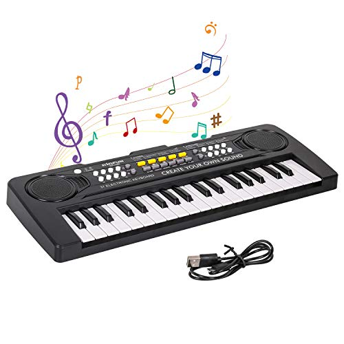 M SANMERSEN Kids Piano, Piano Keyboard for Kids Electronic Keyboard 37 Keys with 4 Drums / Animals Sound / 11 Demos Portable Piano Toys for Beginners Girls Boys Ages 3-8