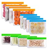 Reusable Sandwich Bag, McoMce 12 Pack Freezer Bags(4 Reusable Gallon Bags, 4 Sandwich Bag, 4 Reusable Snack Bags) Silicone Reusable Storage Bags for Food Marinate Meat Fruit Cereal 3 Sizes