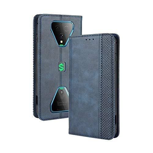 LAGUI Kompatible für Xiaomi Black Shark 3 Hülle, Leder Flip Hülle Schutzhülle für Handy mit Kartenfach Stand & Magnet Funktion als Brieftasche, Blau