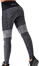 SHIVASM Women's Gray High Waisted Yoga Pants Workout Tummy Control Pants Seamless Yoga Leggings Workout Pants Tights Spandex Athletic Large