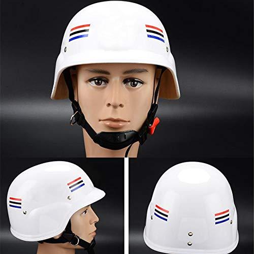 Kappen-Art-Schutzhelm, Belüftet, Ratsche Suspension, Shiny White Graphite Muster, Sicherheitshelm, German Helmet + Gürtel,A