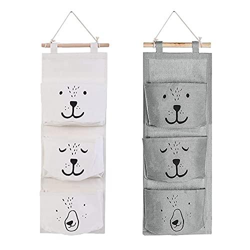 2 Stück Wand Hängen Tasche, Hängender Organizer mit 3 Taschen Wasserdicht Leinen Tasche Wand Tür Hängetasche Aufbewahrungstasche für Baby Kinderzimmer Badezimmer Schlafzimmer