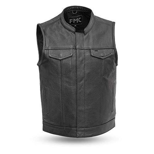 Blaster - Men's Motorcycle Leather Vest (BLACK, 3XL)