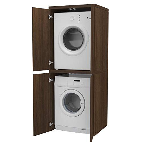 Ve.Ca. Mobile colonna con ante Coprilavatrice in legno, copri lavatrice/asciugatrice, diversi colori, anche su misura, lavanderia bagno (Wengè)