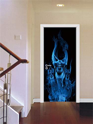 Wall Stickers & Murals Door Wall Sticker Flame Skull 3D Door Sticker-1_85*215Cm