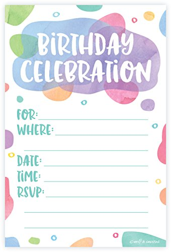 Watercolor Dots - Birthday Party Invitations - Fill In Style (20 Count) With Envelopes