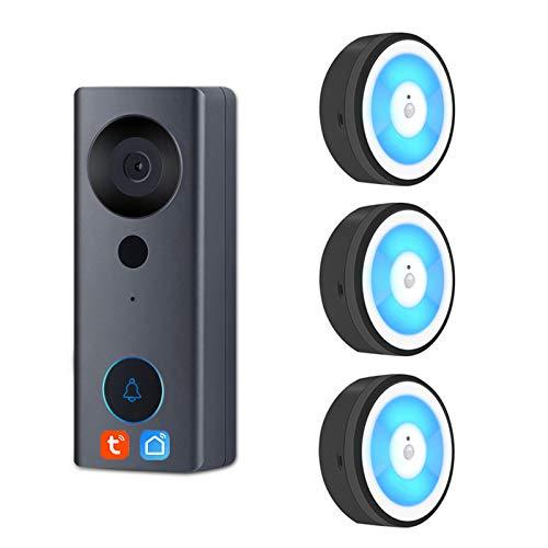 Tuya Smart Life WIFI Video Türklingel, Nachtlicht, 1080P Visuelle Tür Telefon Audio Intercom Kamera Arbeiten Sie Mit...