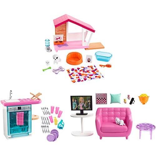 Barbie Arredamenti da Interni, Playset Accessori con 3 Mobili, Assortimento a Sorpresa, Giocattolo per Bambini 3+ Anni, FXG33, Multicolor