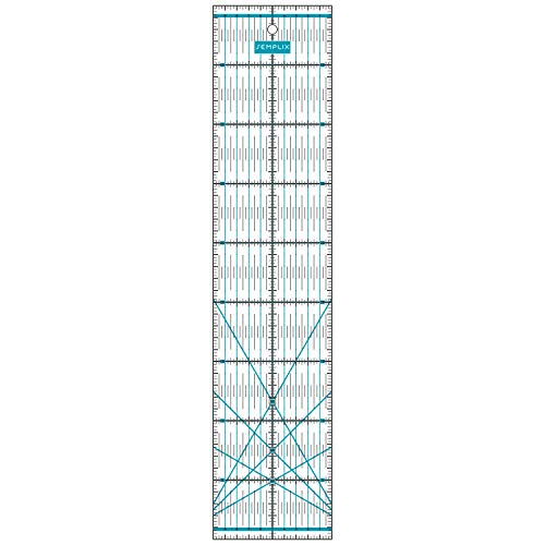 SEMPLIX Patchwork-Lineal Quilt-Lineal, transparent, mit cm Skala und Winkelfunktionen, ideal für Patchwork und zum Basteln, 45 x 10 cm (türkis)