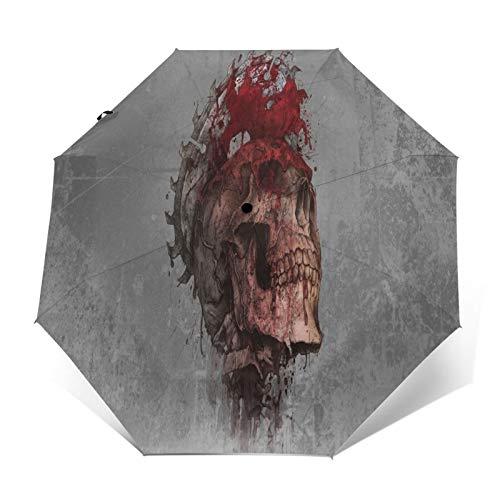 TISAGUER Paraguas automático de Apertura/Cierre,Un Esqueleto ensangrentado cuya Cabeza fue aserrada con una Motosierra,Paraguas pequeño Plegable a Prueba de Viento