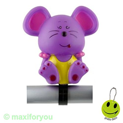 Kinderfahrrad Ballhupe Hupe Tierfigurhupe Fahrradhupe + Gratisgeschenk - 01180120 (Maus)