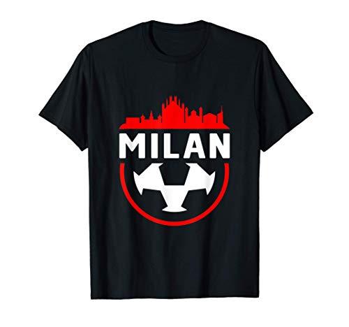 Skyline della città vintage tifoso di calcio di Milano Maglietta