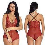 HTRP Lencería y Ropa Interior para Mujer Sexy Cuello en V Ajustable Espalda Cross Sling Body Body Shape Apertura Placer Pijama Vino Rojo L