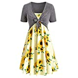 YBZL Two Piece Outfits for Women Summer Dresses?Fashion Bowknot Bandage Top Sunflower Plus Size Summer Dresses (L,Grayish Yellow)