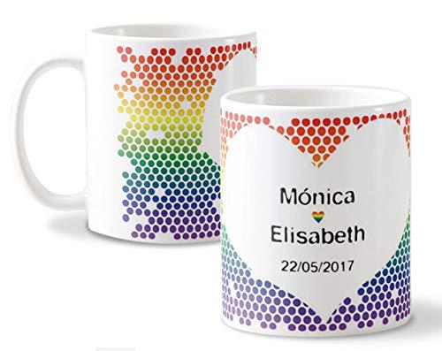 Getsingular Tazas Personalizadas con Nombres Ideales para Enamorados y San Valentín | Tazas Blancas Diseño Personalizado con Nombres - LGTBI Bandera