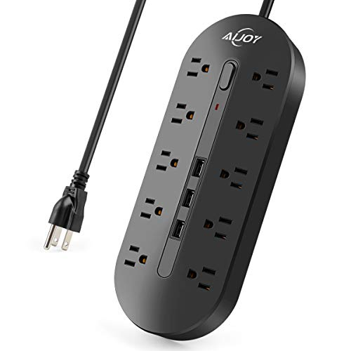 AiJoy Surge Protector Power Strip 10FT Extension Cord 10 Outlet 3 USB Fast Charging Ports 0utlet Strip 3000W