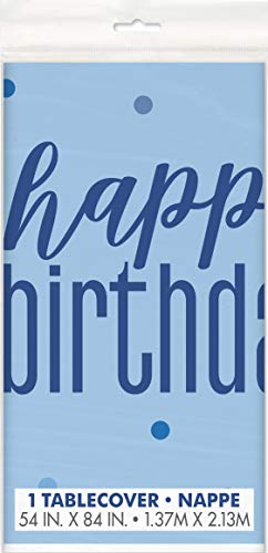 Unieke partij 56450 Ballonnen Kunststof tafelkleed Happy Birthday Blauw