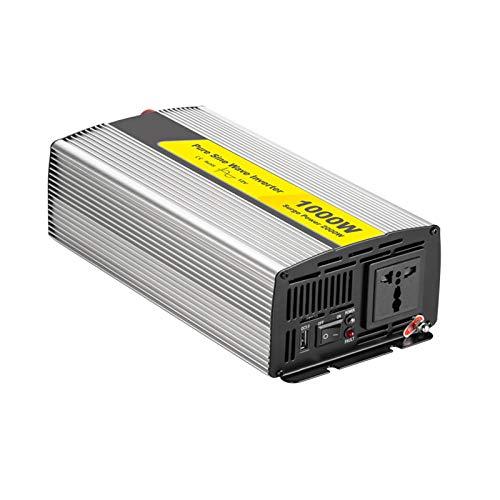 1000W Pure Sine Onde Power Inverter DC 12V / 24V a AC 110V / 220V con puertos de carga USB de QC 3.0 y 1 Outlets de CA, inversor de energía solar para barcos de camiones RV y emergencia,12v,220V