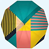RLDSESS Fashion Patio Umbrella, Automatic Opening and Closing Cover Geometrical Pattern from Strips Triangles Concept Design Poster Windproof, Rainproof, Men, Ladies, 10 Ribs, 42 Inches