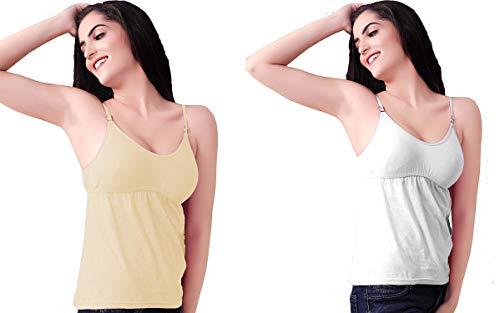 Fashiol Women's Cotton Camisole with Shelf Bra Adjustable Spaghetti Strap Tank Top Cami Tanks Size(32,34,36) Black,Skin Pack of 2 (34)
