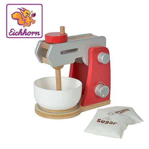 Eichhorn 100002488 - Küchenmaschine aus Holz mit Rührschüssel und 2x Spielbeutel, 4-tlg, 12x18,5x19,5cm, Birkenholz
