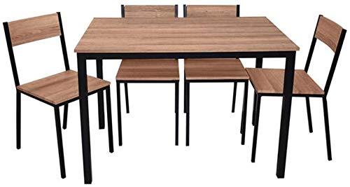 Mobiliario rústico y moderno con 4 sillas una mesa, el juego de mesa para la cocina, sala de estar, terraza o jardín,Brown