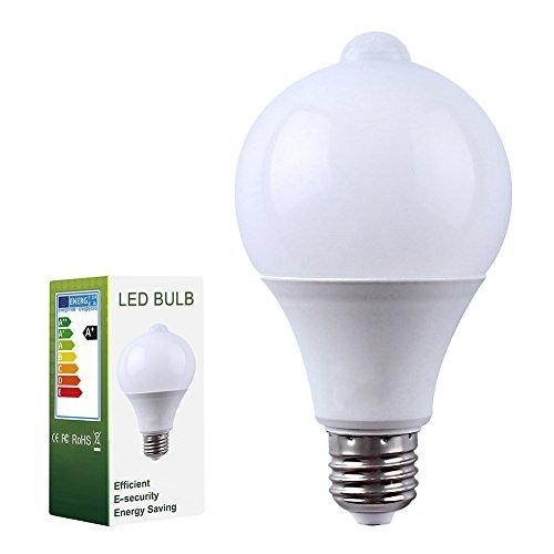 2 pièces Lumière à vis Edison E27 7W LED Lampe de capteur de mouvement infrarouge 14 x 2835 SMD LEDs Ampoules à économie d'énergie (AC 85-265 V, 630LM, Blanc Froid 6000K)