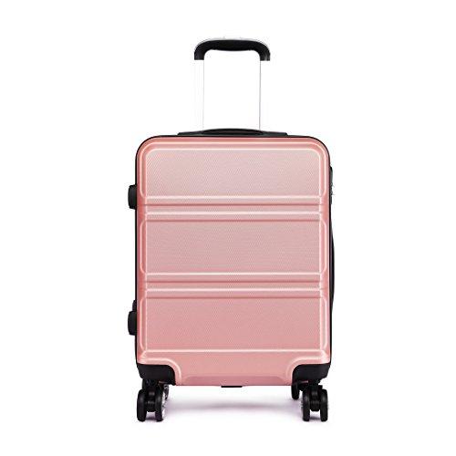 Kono Maletas Viaje Medianas 4 Ruedas Rígidas ABS Trolley con Candado de Combinación (Rosa Oro)