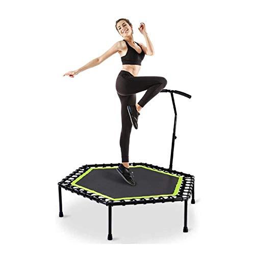 UIZSDIUZ 48'Mini trampolín silencioso con Barra de Mango Ajustable, Fitness Trampoline Bungee Rebounder Saltando Entrenamiento de Entrenador de Cardio for Adultos o niños