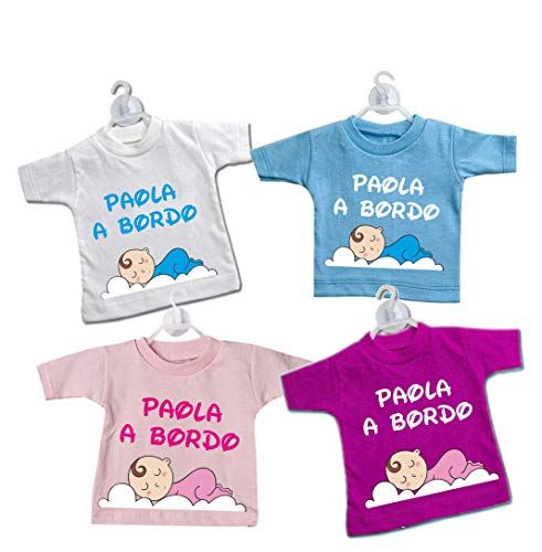 Mini t-shirt magliettina bimbo bimba auto nomi bordo bebè baby on board BIMBO A BORDO con gruccia e ventosa