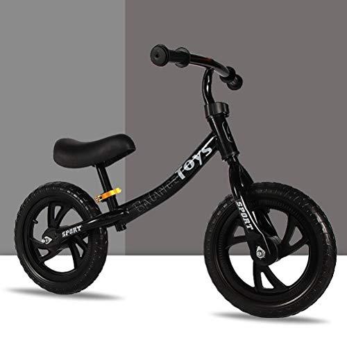 zaizai Bicicleta De Equilibrio para Niños, Juguete para Montar En Bicicleta para Niños De 2 A 6 Años, Niñas, Carga De 75 Kg, Niños para Aprender A Niños, Metal 70-120cm (Color : Black)