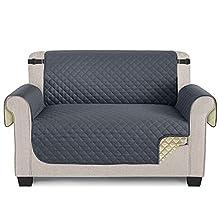 TAOCOCO Funda de sofá Impermeable Funda de cojín de protección para Mascotas Almohadilla de protección contra Desgaste y Grietas (Gris Oscuro, 2 PLAZAS)