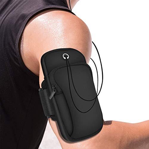 SEVAM Waterproof Sport Armband Unisex Running Jogging Gym Arm Band Case Waterproof Arm Band Phone Holder for Fitness Exercise with Adjustable Elastic Band (Black)