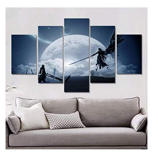 CAOHD Final Fantasy Xv Game Art Poster Print Wall Pictures for Bedroom Living Room Decor Cloud Vs Sephiroth 5 Pieces-40X60 40X80 40X100Cm No Frame